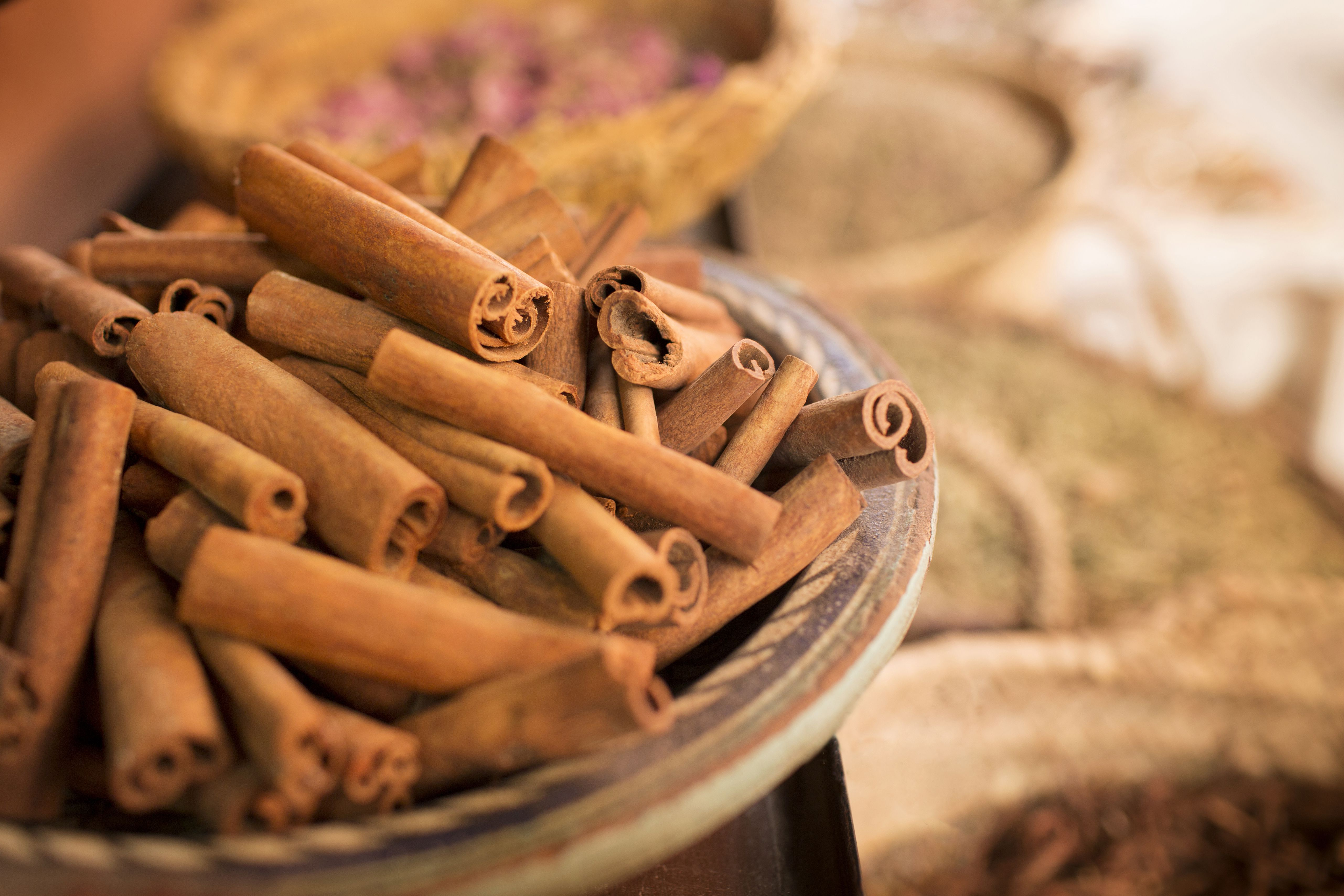 Cinnamon sticks on plate and other spices in background