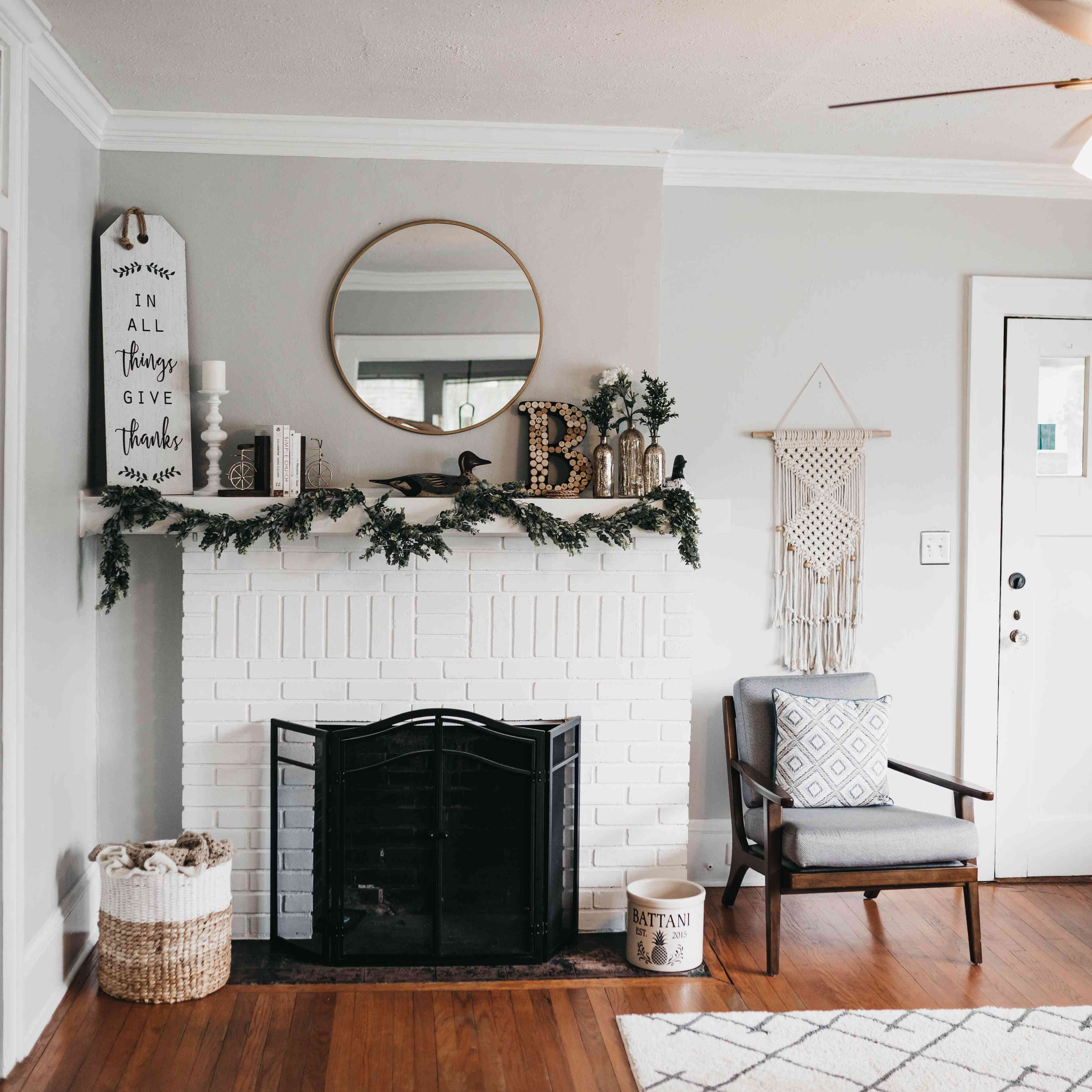 Gray and white entry foyer