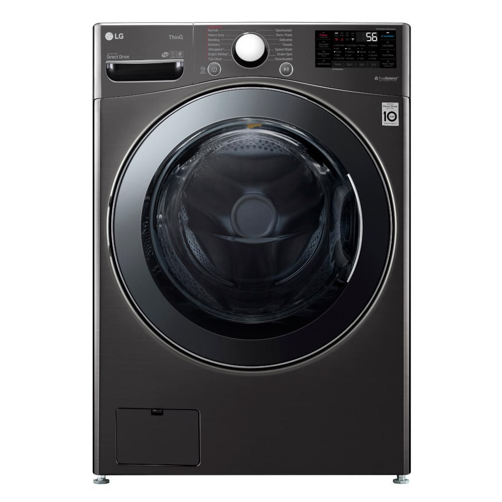 The LG Electronics Ultra Large Capacity Electric All-in-One Washer Dryer Combo comes in black steel, and can hold very large loads of laundry.