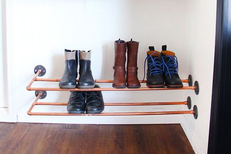 Copper Piping Shoe Rack