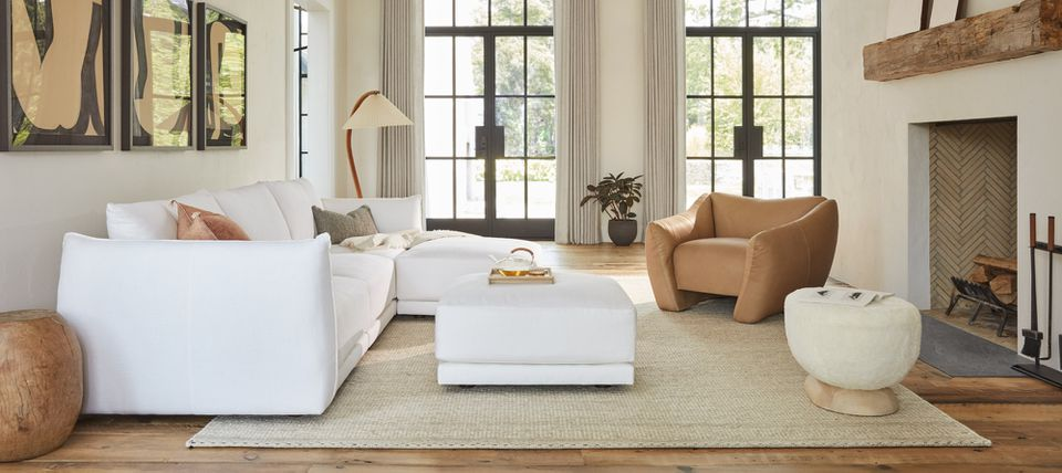 The Jones Modular sofa by Maiden Home in white in a neutral room