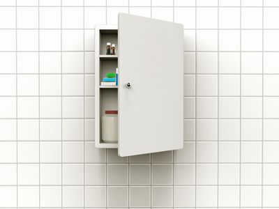 Medicine cabinet mounted on a wall.