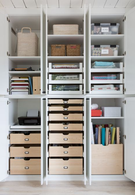 Craft room organization system including shelves and drawers.