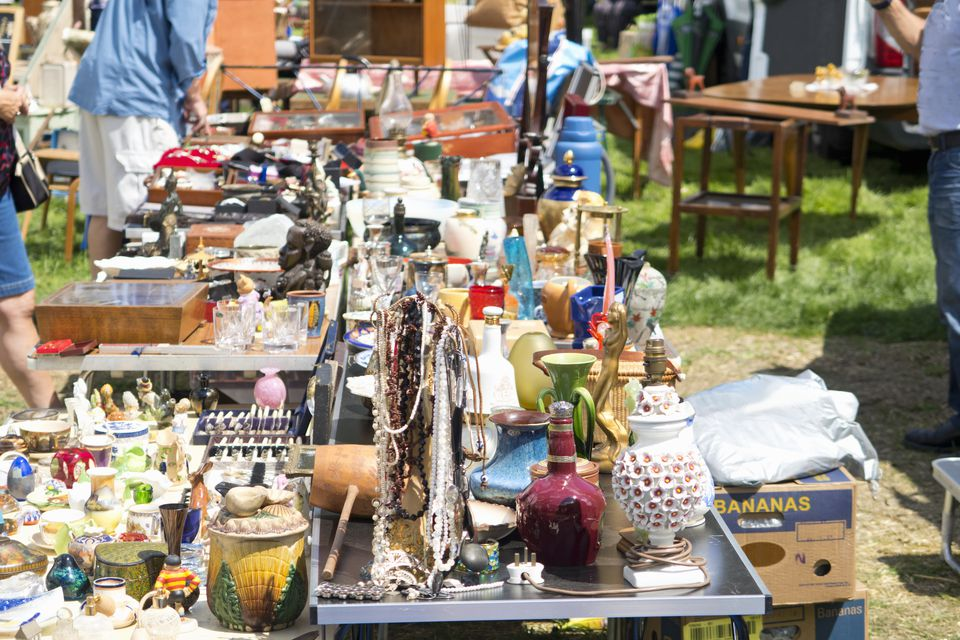 Close up of stalls at an outdoor flea market