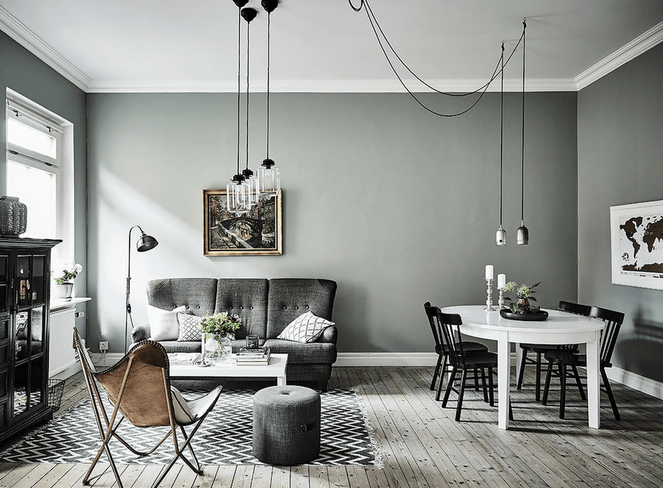 Gray With A Hint Of Green Minimalist Living Room