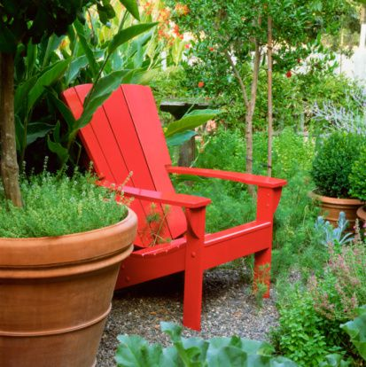 Red chair in garden