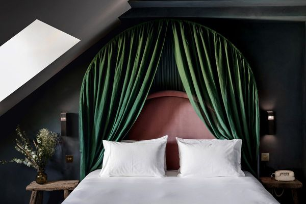 Green curtain headboard