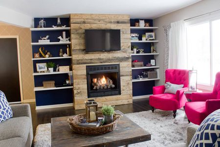 Faux Reclaimed Wood Fireplace Surround