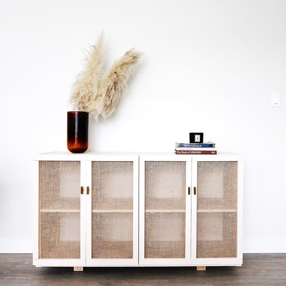 Cane cabinets made from IKEA kallax units