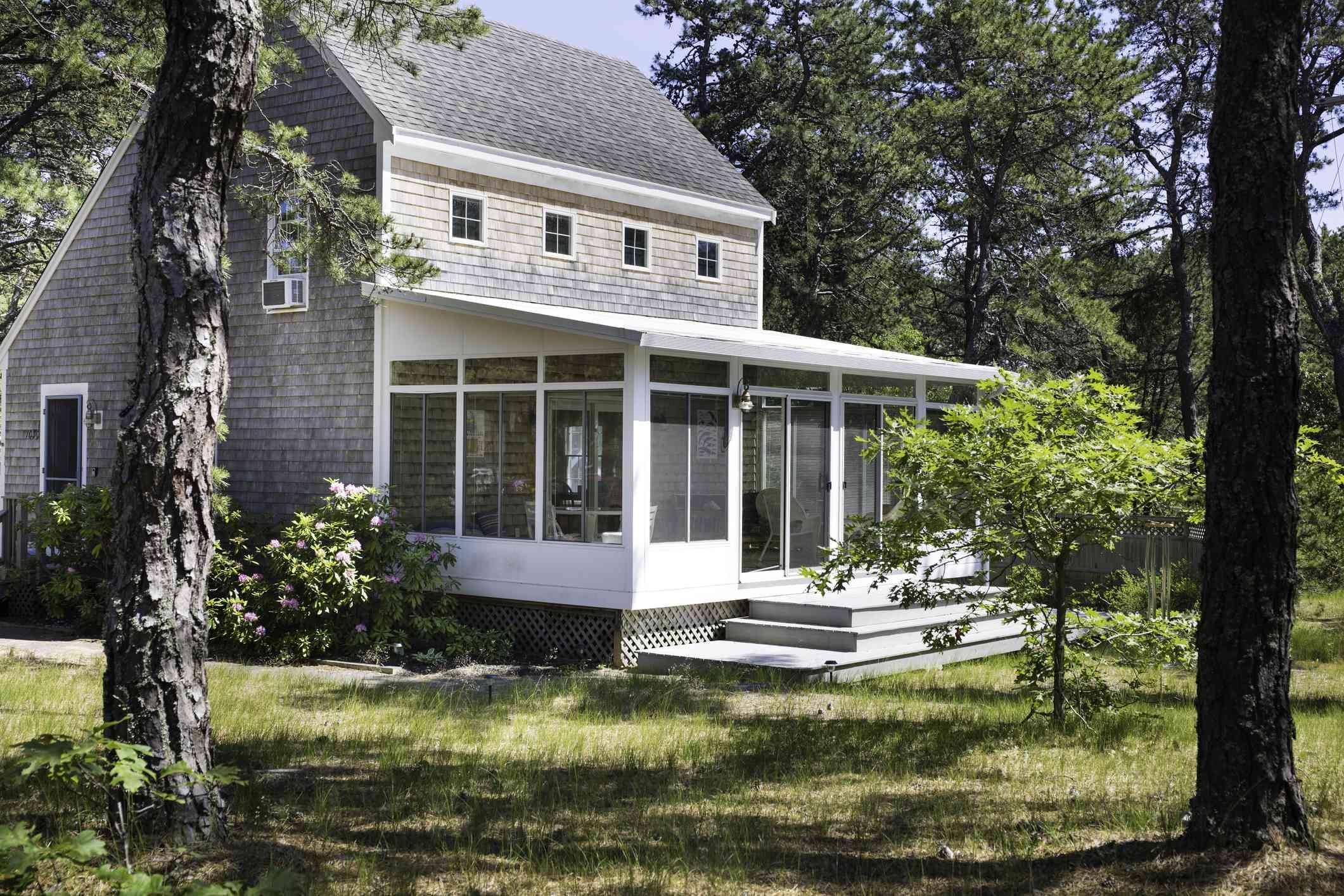 Terraza acristalada del porche trasero