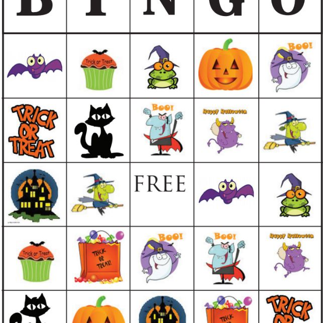It is a picture of Adaptable Free Halloween Bingo Printable
