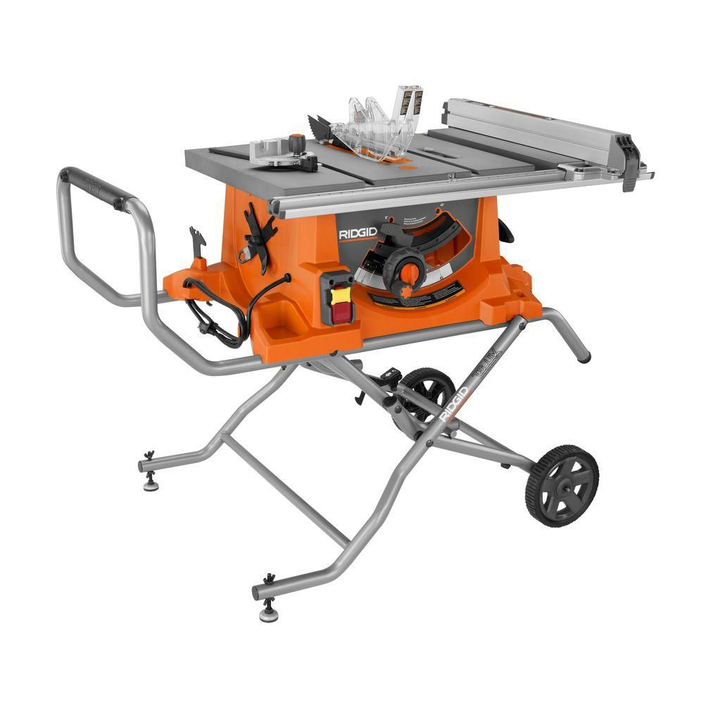 RIDGID 15 Amp 10 in. Heavy-Duty Portable Table Saw with Stand