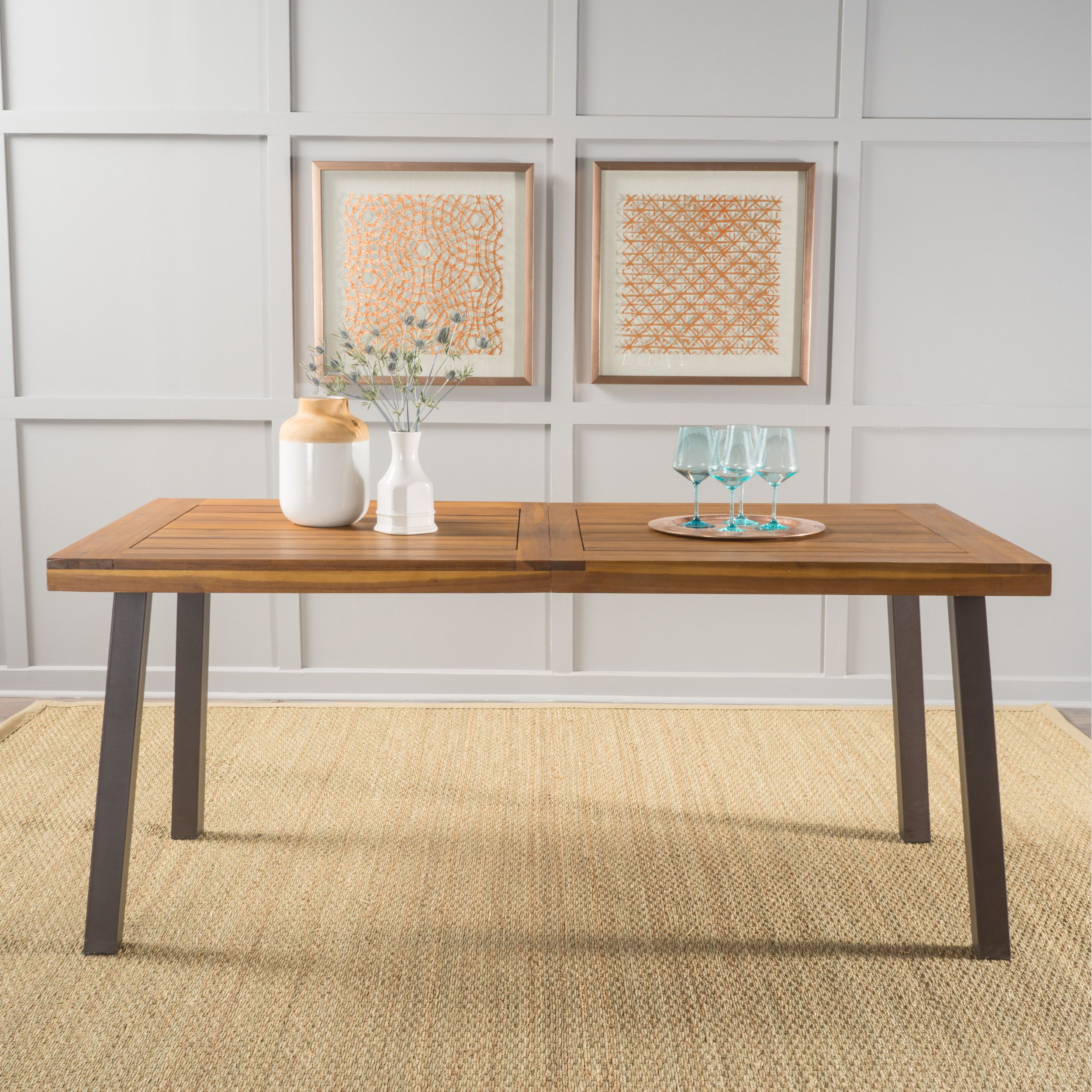 731a45ec69b Best Overall  Noble House Natural Stained Acacia Wood Dining Table