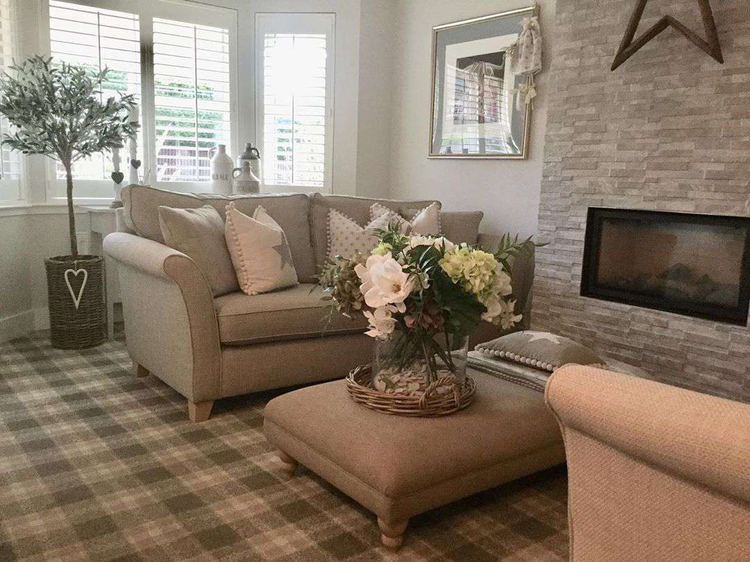 Living room with light brown accents