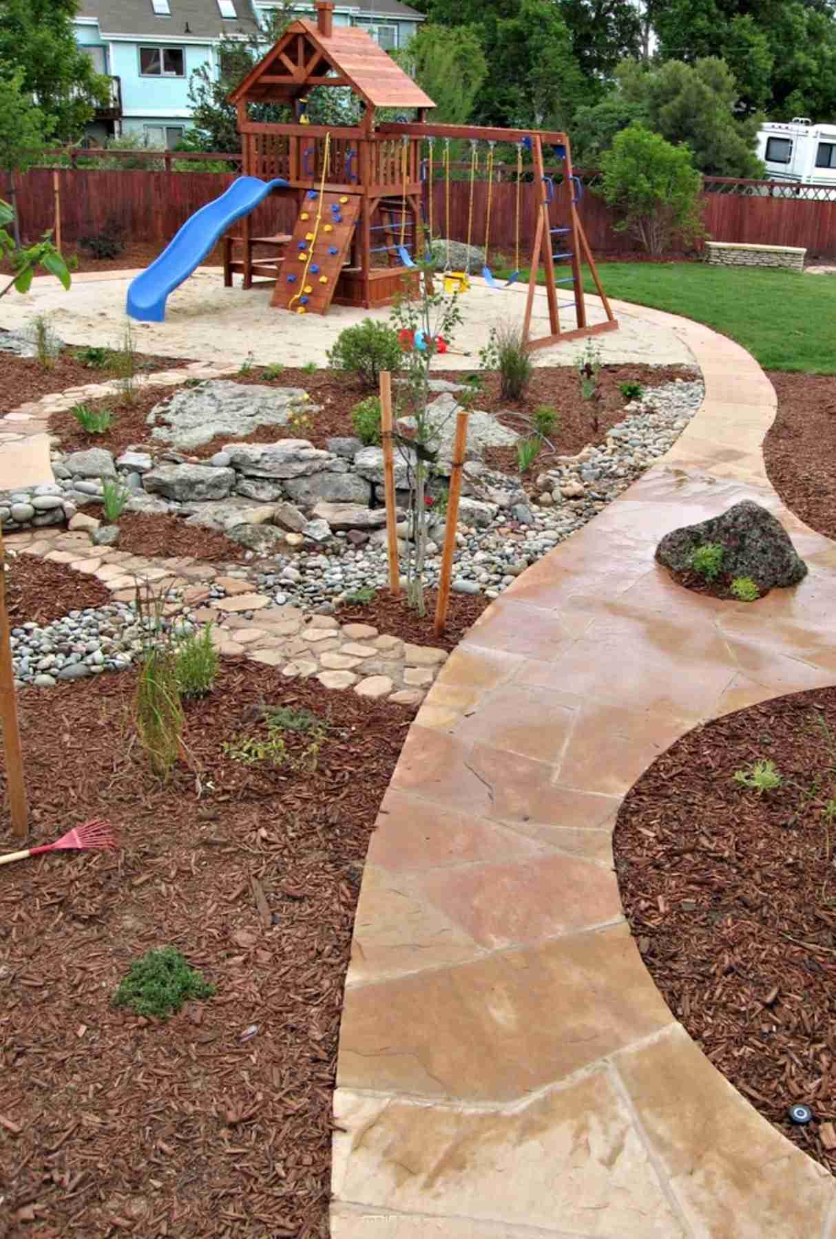 children's play area in garden