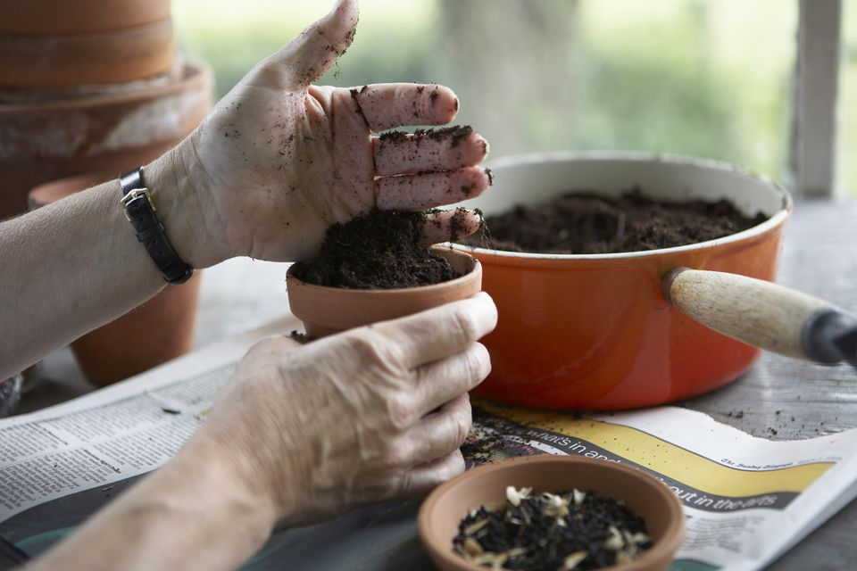 Person filling terracotta pot with soil in preparation for planting seeds