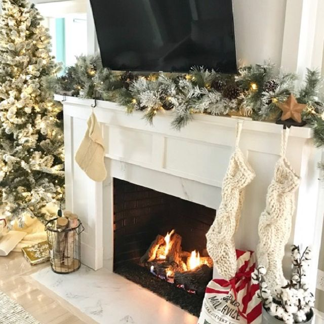 After - Covered White Brick Fireplace