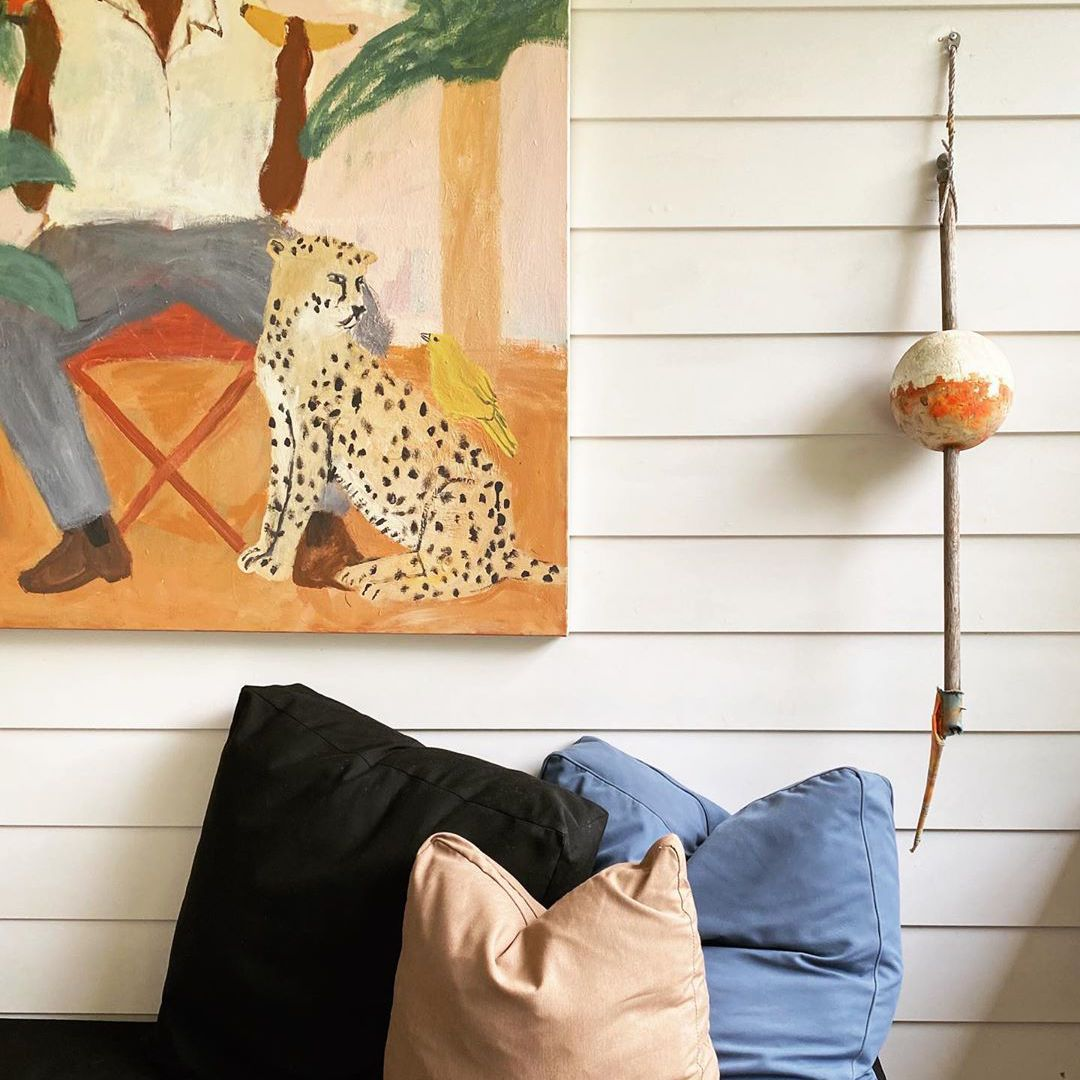 Living room with orange painting