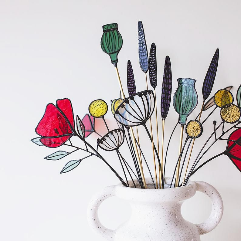 stained glass flower bouquet