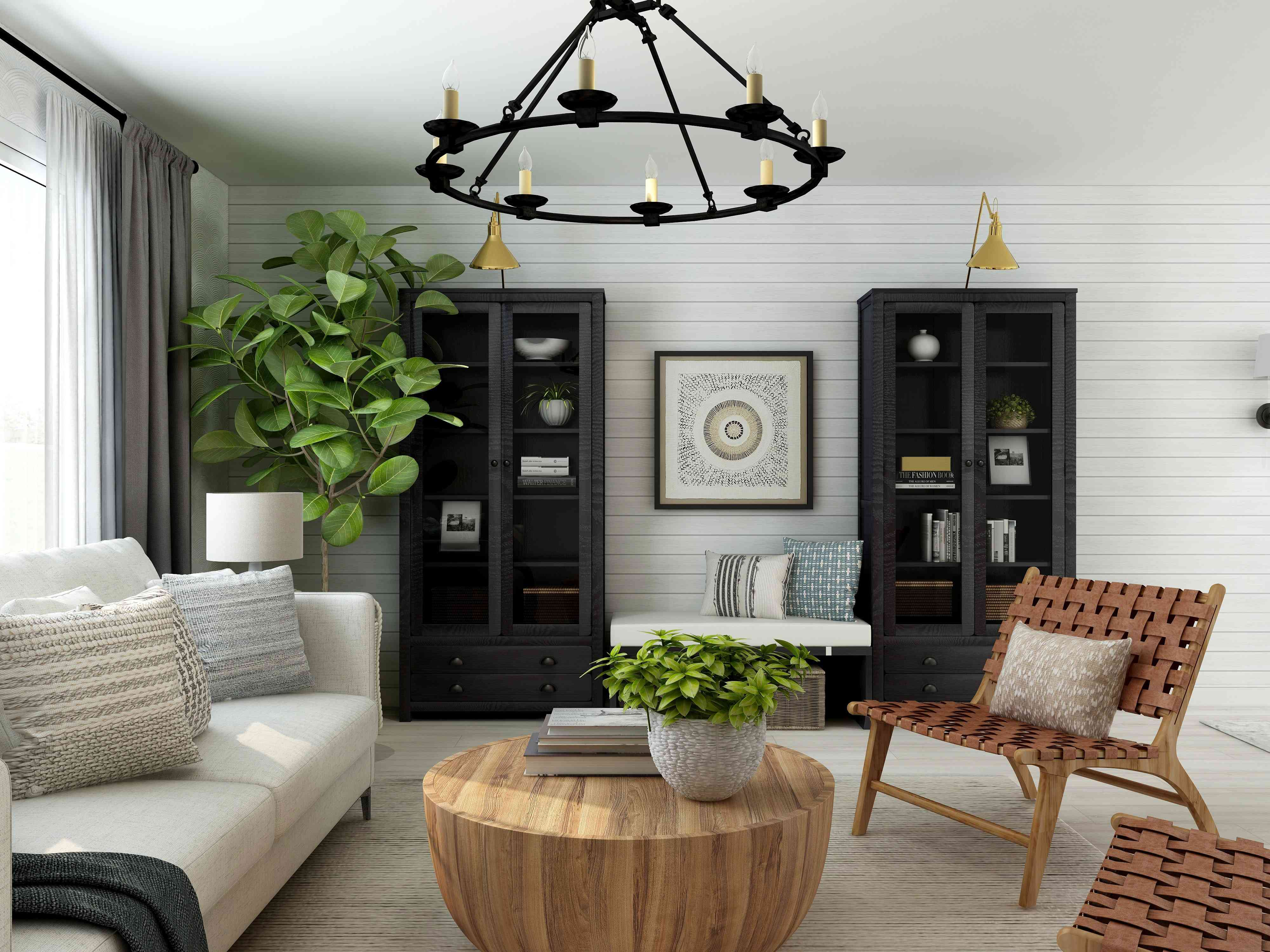 minimalist, dark interior decor