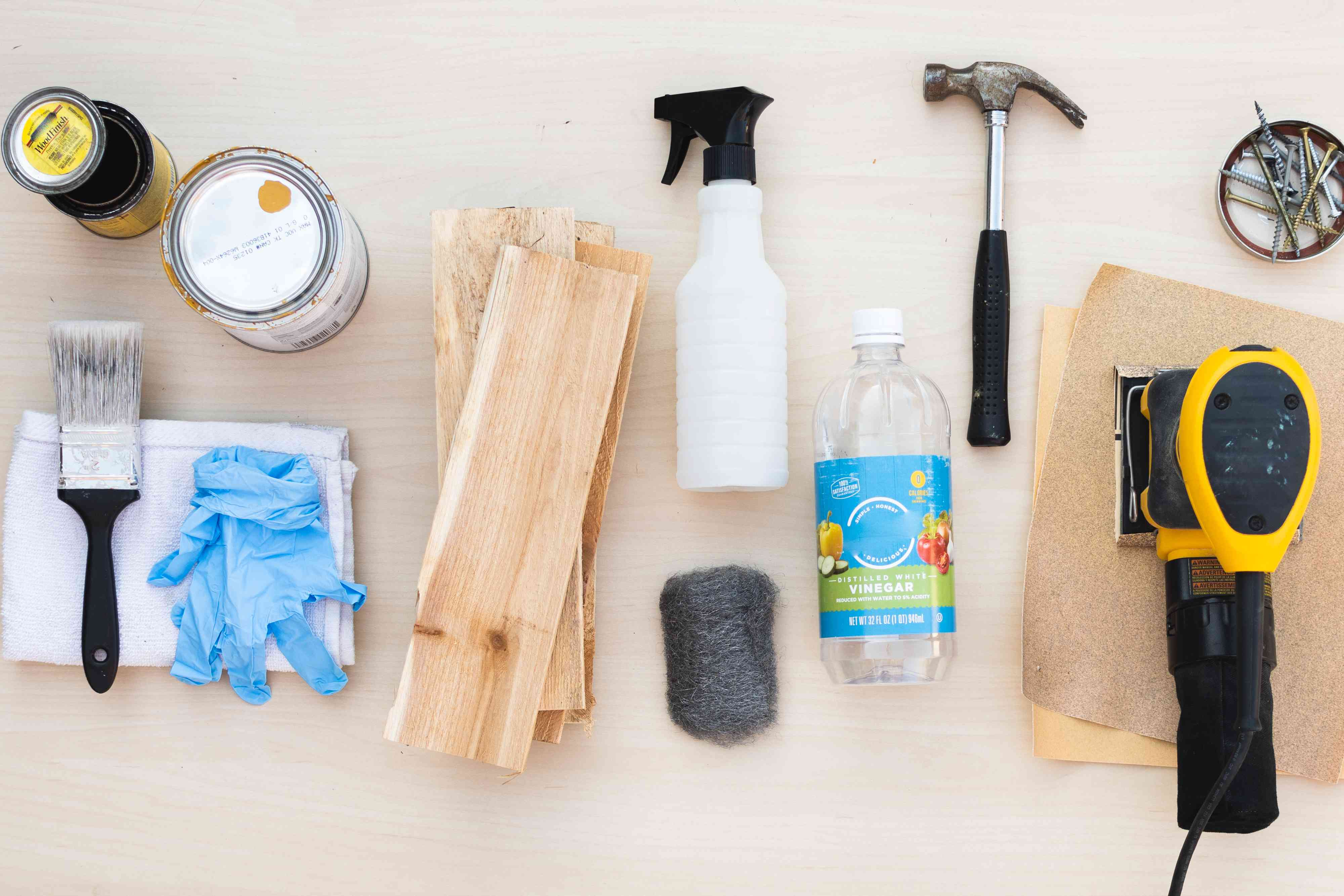 Materials and tools to distress wood and make it look old