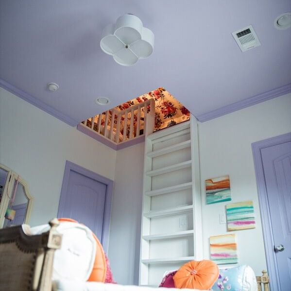 Girl's room with secret attic hideout