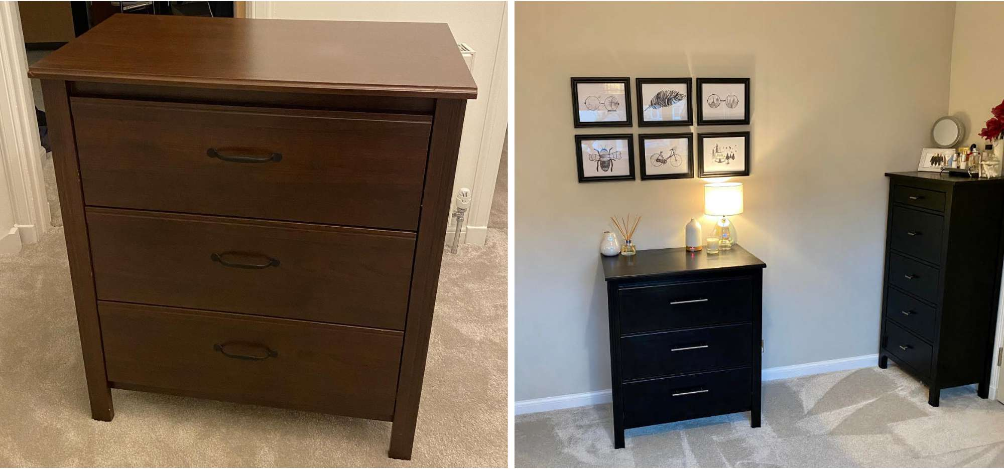 IKEA hack of 3-drawer chest