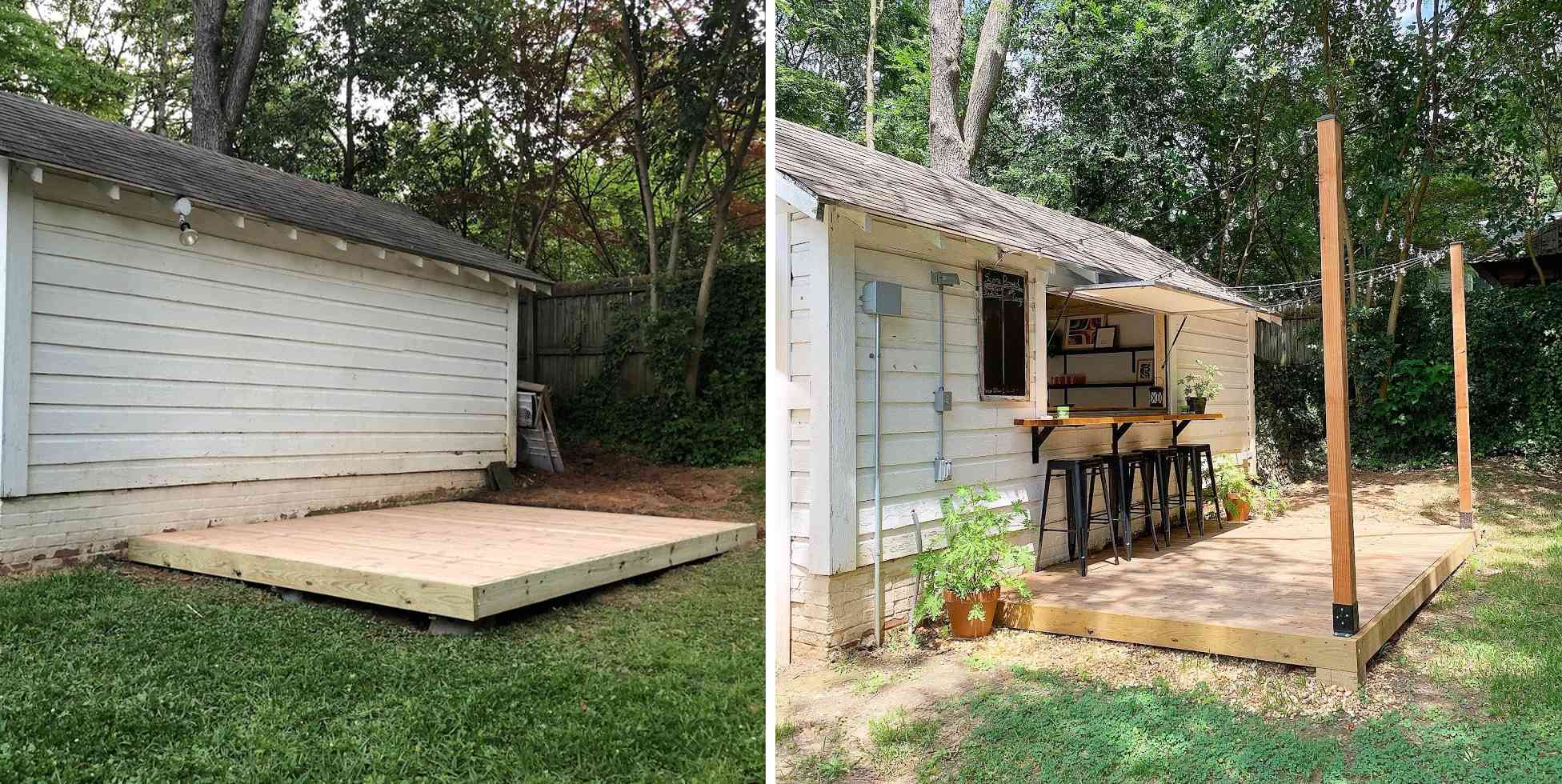 before and after of pass-through bar and deck