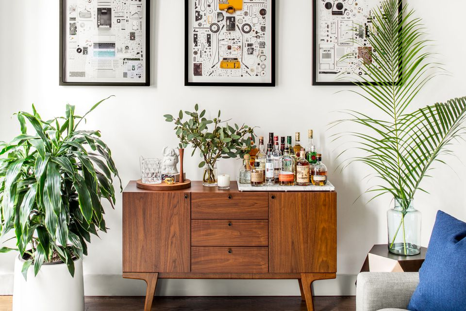 three different plants flanking bar cart