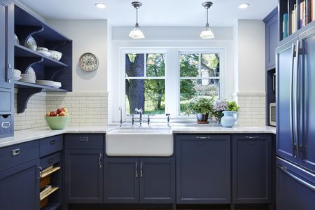 Navy Blue Kitchen Cabinet A Sink
