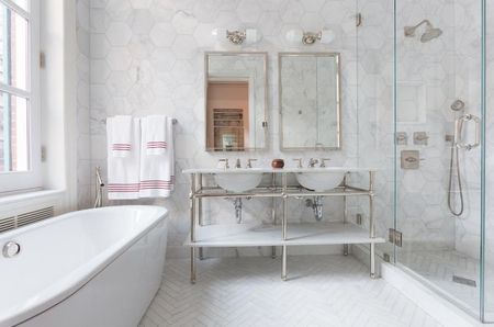 Elegant Clically Styled Bathroom With Frameless Shower