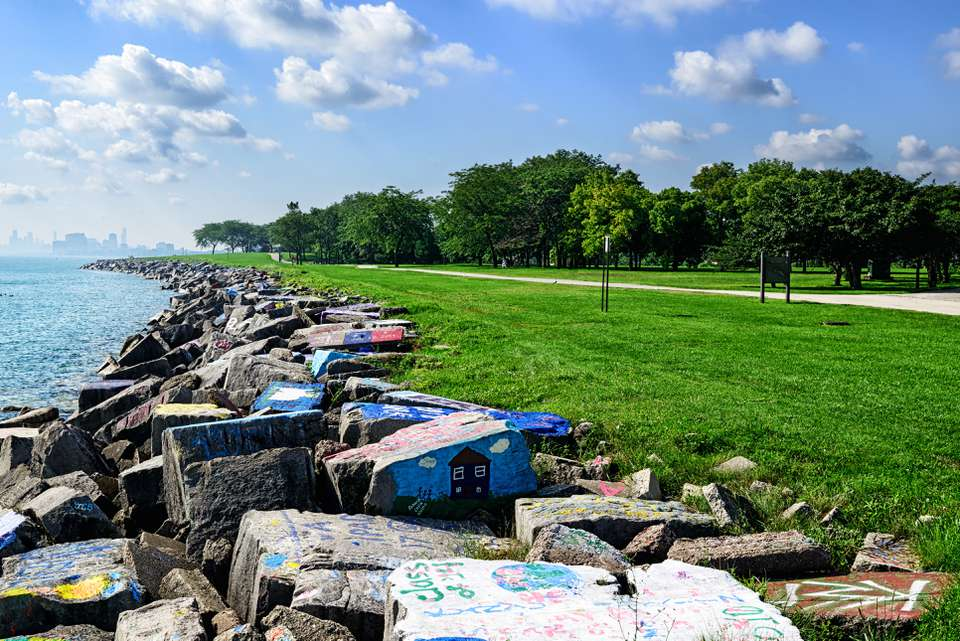Rippap Barrier on Lake Michigan Shoreline in Evanston