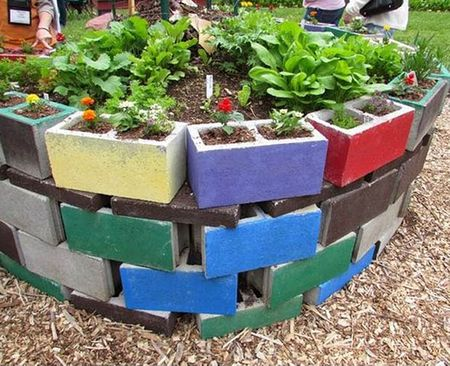 Colorful Concrete Block Garden. Colorful Cinderblock Raised Bed. Home Design Inspired