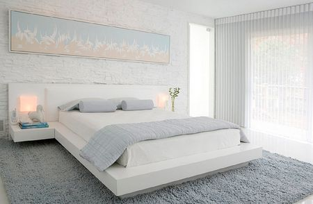 Peaceful Gray And White Modern Bedroom