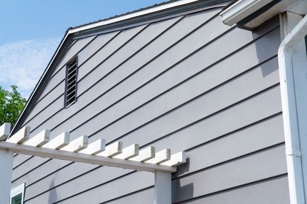 Gray vinyl house siding on side of house with white trim