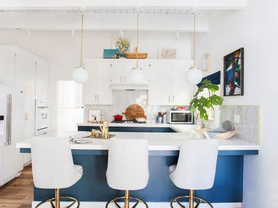 kitchen with white cabinets