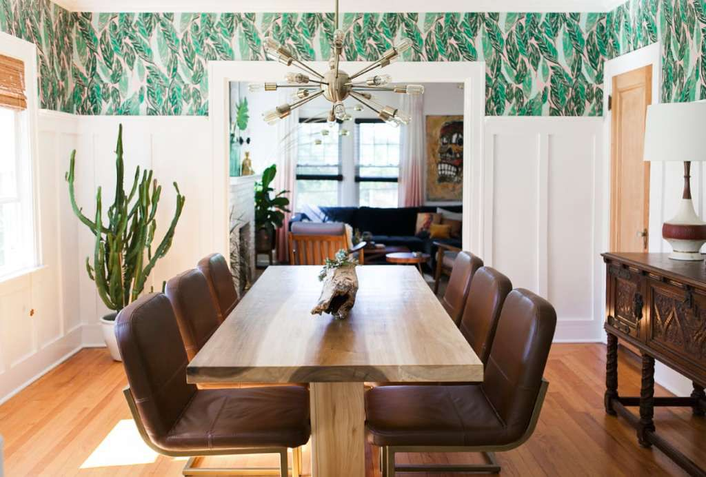 pink and green with leather chairs