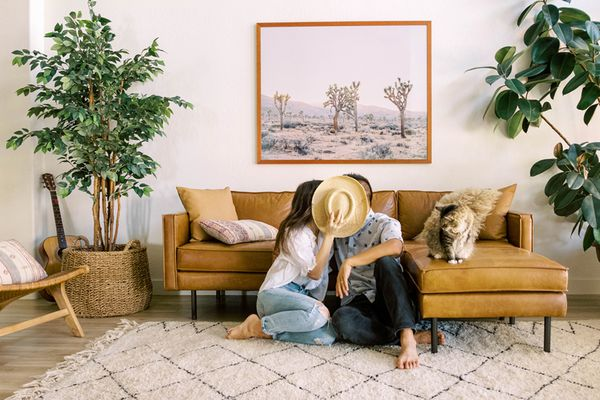 couple in a living room
