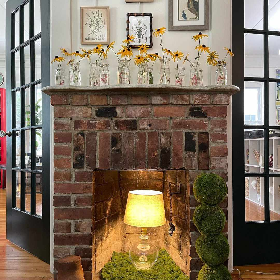 lamp in fireplace