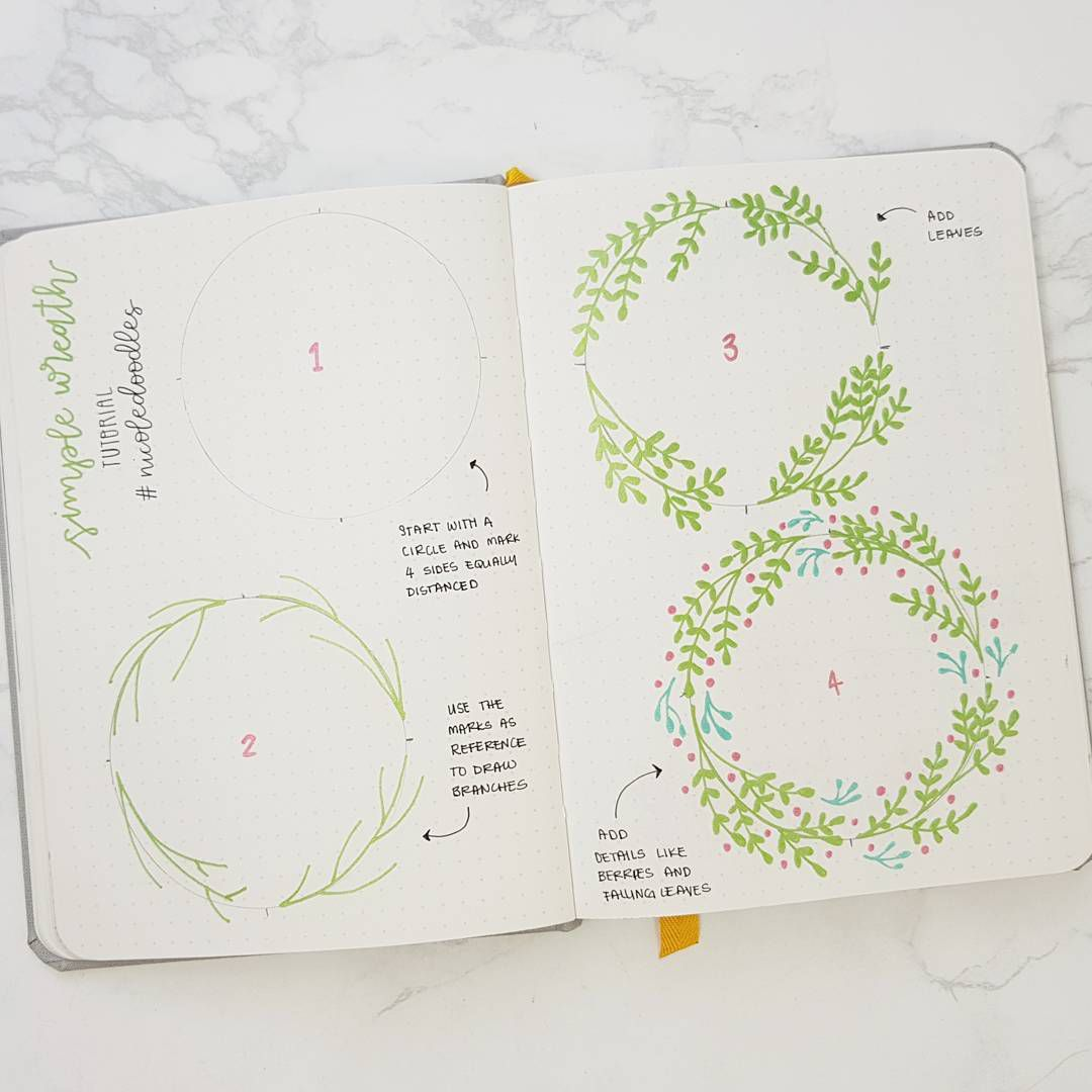 Doodle wreath how to for bullet journal