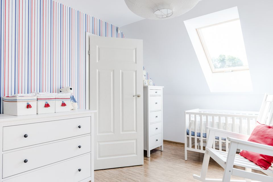 Baby's room, home interior, white furniture, rocking chair, bed, cabinets