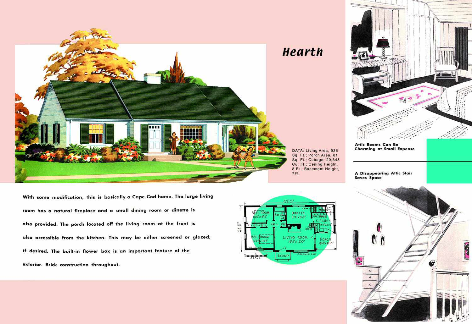 Cape Cod House Plans for 1950s America  Cape Cod House Plans on l shaped ranch house plans, original levittown house floor plans, 1945 house plans, cape cod cottage plans,