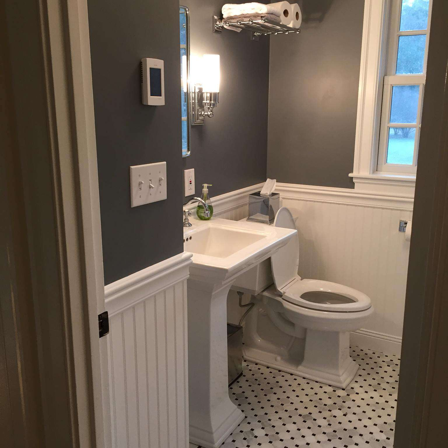 grey colored bathrooms