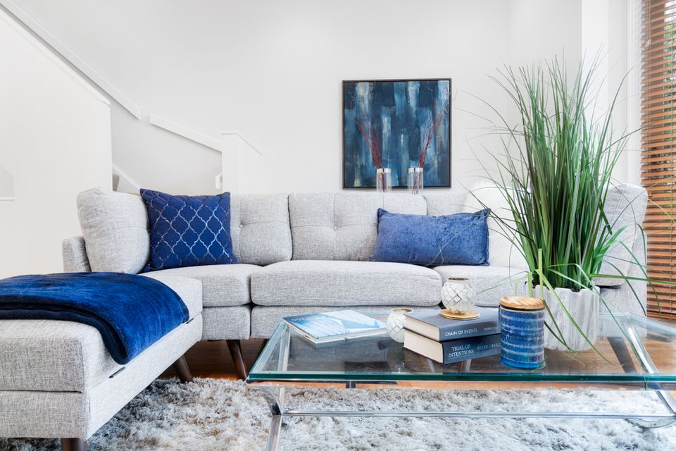 living room in cool gray and blue tones