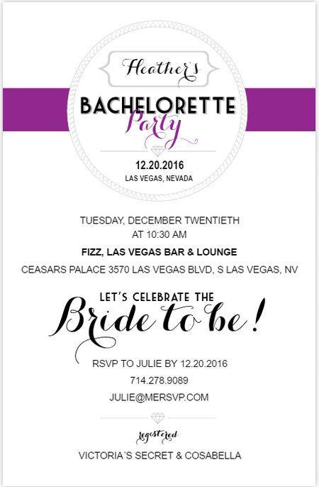 9 free printable bachelorette party invitations a purple black and white bachelorette party invite stopboris Choice Image
