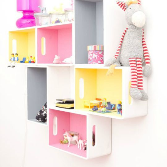 Wall-Mounted Crate Shelves