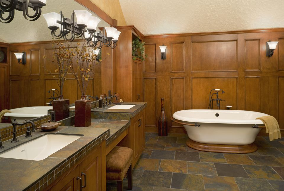 Wood Paneled Bathroom with Slate Floor
