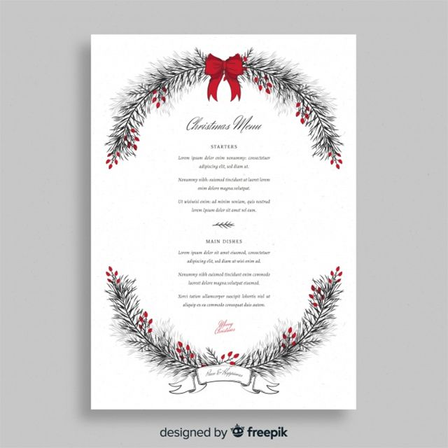 A Christmas menu surrounded by a wreath