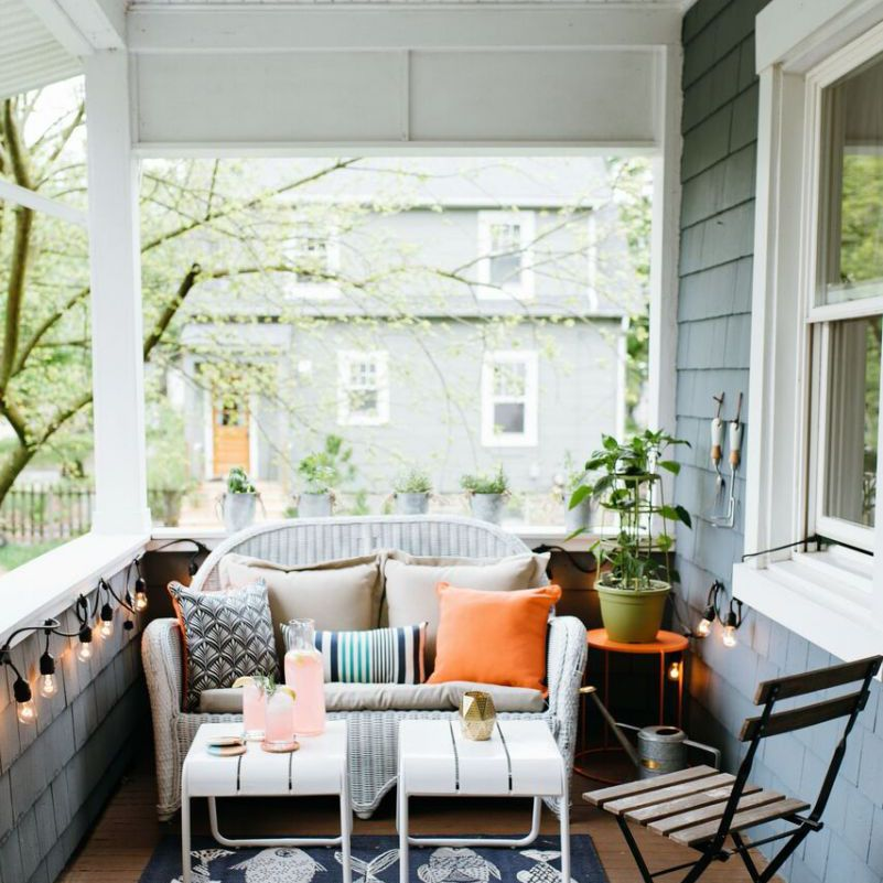 Porch with lights and seating