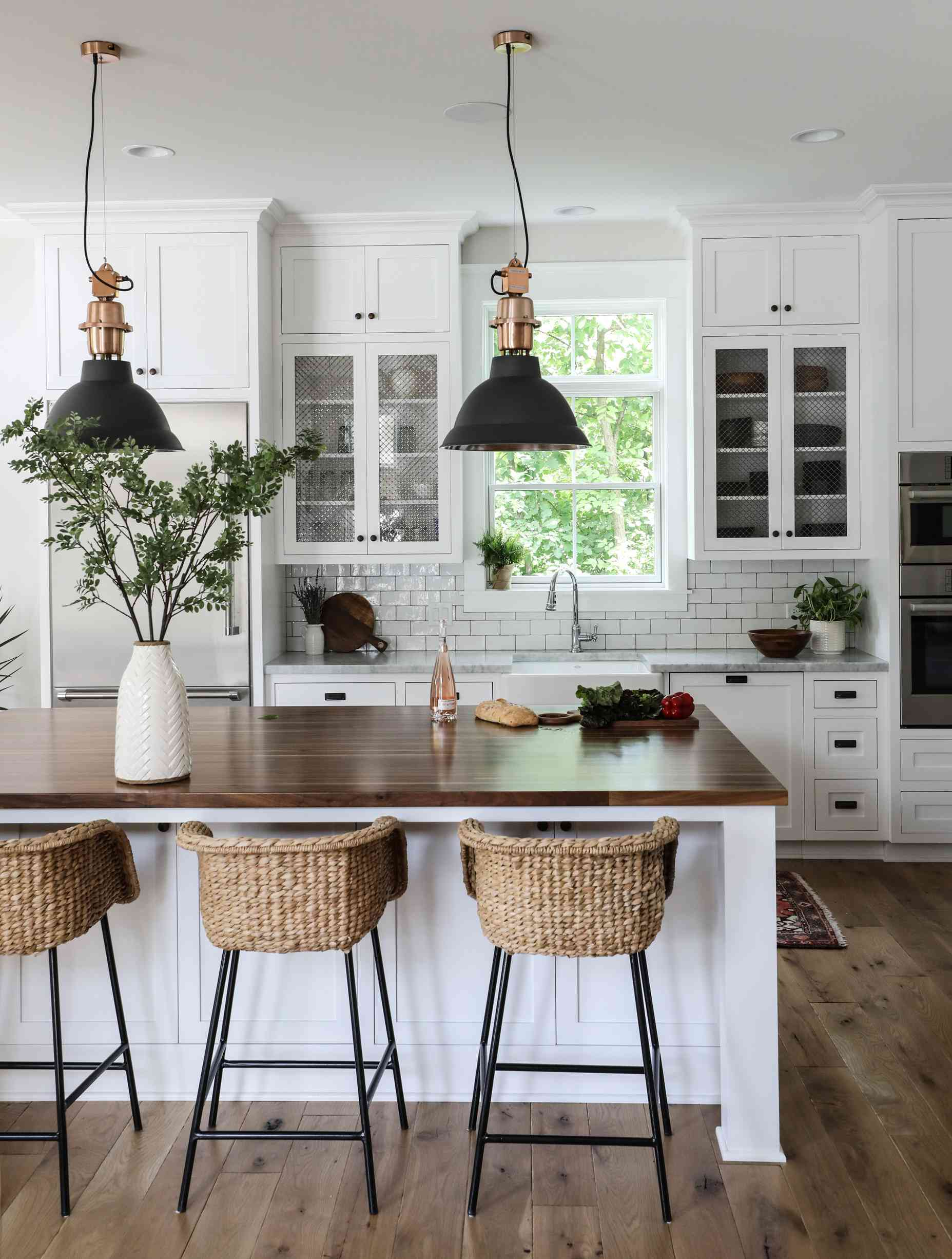 greenery in traditional white kitchen